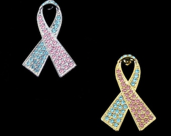 Light Blue Light Pink Ribbon Bow Pregnancy Infant Loss Miscarriage SIDS Infertility Pro-life Awareness Brooch Pin Silver Tone Gold Tone