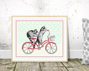 Affiche ratons laveurs à vélo, ratons laveurs à bicyclette rouge, 5 x 7 et 8 x 10