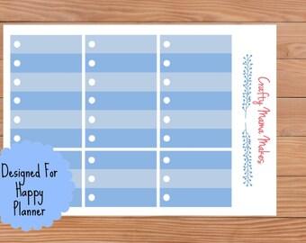 Blue Circle Check List Boxes - Planner Stickers - Sticker - Happy Planner - Erin Condren - Planner