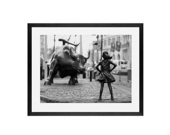 Fearless, Feminism, Girl power, Wall Street Bull - Art Prints - Framed Art - Girl Power, Equality, Be Fearless, fearless girl, feminist art