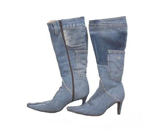 Vintage Italian Denim and Leather Boots