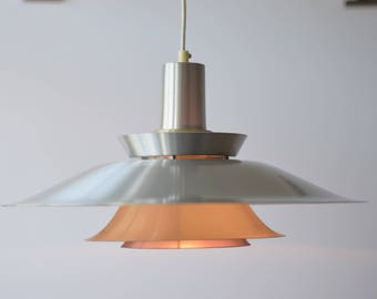 Vintage Danish - Pendant lamp / Ceiling Light - Silver Metal & Purple - retro mid century lighting