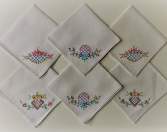 Vintage linen embroidered handkerchiefs unboxed set of six, wedding accessory, bridesmaid gift