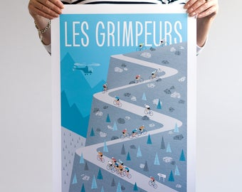 Cycling Poster, The Climbers, Tour de France Art