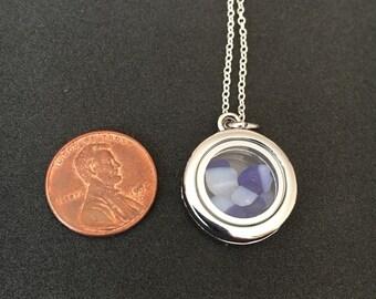 Blue/white Davenport sea glass locket