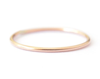 14K Solid Rose Gold thin band - simple stacking ring - delicate pink gold ring - plain round band - minimalist jewelry / Ina 1mm 14K Rose