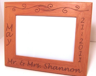Custom Laser Engraved Wood Picture Frame 5x7