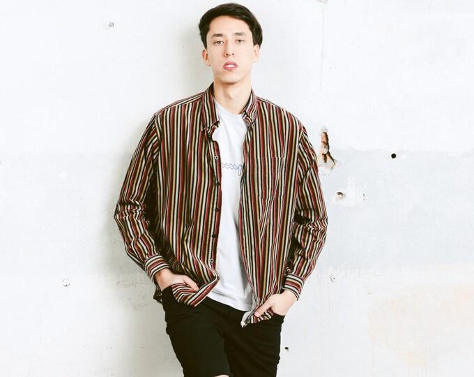 Corduroy Oxford Shirt . Vintage Striped Cord Shirt Button Down 90s Striped Shirt Mens 90s Shirt Grunge Outfit . size Large L
