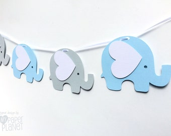 Blue and grey elephant Garland. Baby shower, birthday party, bunting, banner, dessert table. Pastel blue, light grey. Party decor.