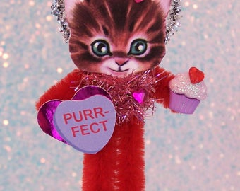 SALE! Vintage Valentine's Day Cat Chenille Feather Tree Ornament