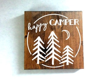 happy camper sign version 2, camping sign, rustic sign, cabin sign, woods sign, outdoor decor