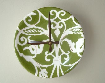 Olive Green and Cream Plate Wall Clock, Non-Ticking Ornate Scroll Pattern 8-3/8 Inch Ceramic Plate Clock, Kitchen Clock Wall Decor 2521