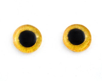 Glass Owl Eyes 10mm Yellow Taxidermy Cabochons - Evil Eyes for Jewelry Making or Sculptures - Set of 2