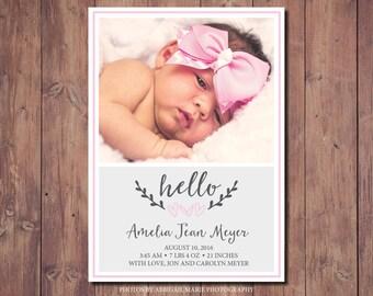 Printable Newborn Announcement, Printable Birth Announcement Card, New Baby Announcement Card, Photo Credit: AMP