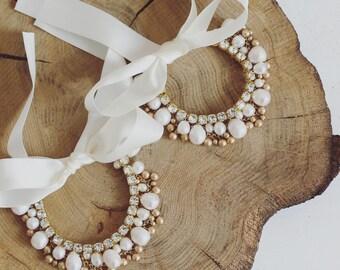 Boho bridal anklet. Boho ankle bracelet. Boho anklet. Boho ankle cuff. Ankle chain. Chunky pearl. Gold anklet. Pair of anklets. Ribbon.