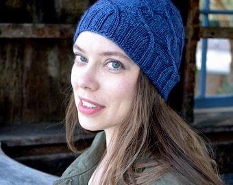 Wool Knitted Hat, Blue Knit Hat, Wool Hat, Slouchy Beanie, Slouchy Hat, Slouchy Wool Hat, Unisex Hat, Cabled Hat, Christmas Gift