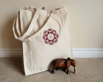 Custom Embroidered Mandala Canvas Tote Bag