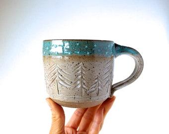 Handmade Mug, READY TO SHIP, Ceramic Mug, Handmade Wheel-Thrown Pottery, Speckled Stoneware Mug