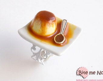 Food Jewelry Creme caramel Ring, Miniature Food, Handmade Ring, Polymer Clay Sweets, Mini Food, Kawaii Jewelry, Foodie Gift