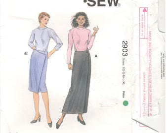 Kwik Sew 2903 size 8, 10, 12, 14, 16, 18, 20, 22, 24 XS S M L XL  Women's lined wrap skirt sewing pattern.  Wrap skirt, funnel neck top, tee
