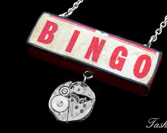Steampunk Wooden Bingo Pendant Necklace, Vintage Long Silver Watch Movement Pendant, Boho Jewelry