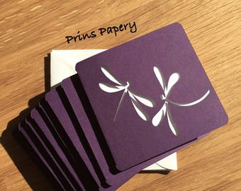 Purple Dragonfly Mini Note Cards with Envelopes 8