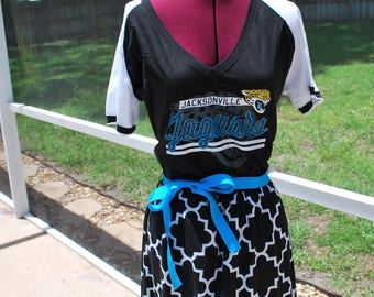 Jacksonville Jaguars Game Day Short Sleeve Dress with ribbon tie Upcycled Shirt Size Large Ready to ship