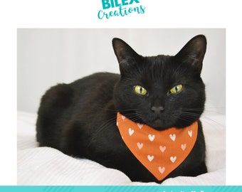 HEARTS BANDANA-handmade in Quebec - cats & kittens accessories -