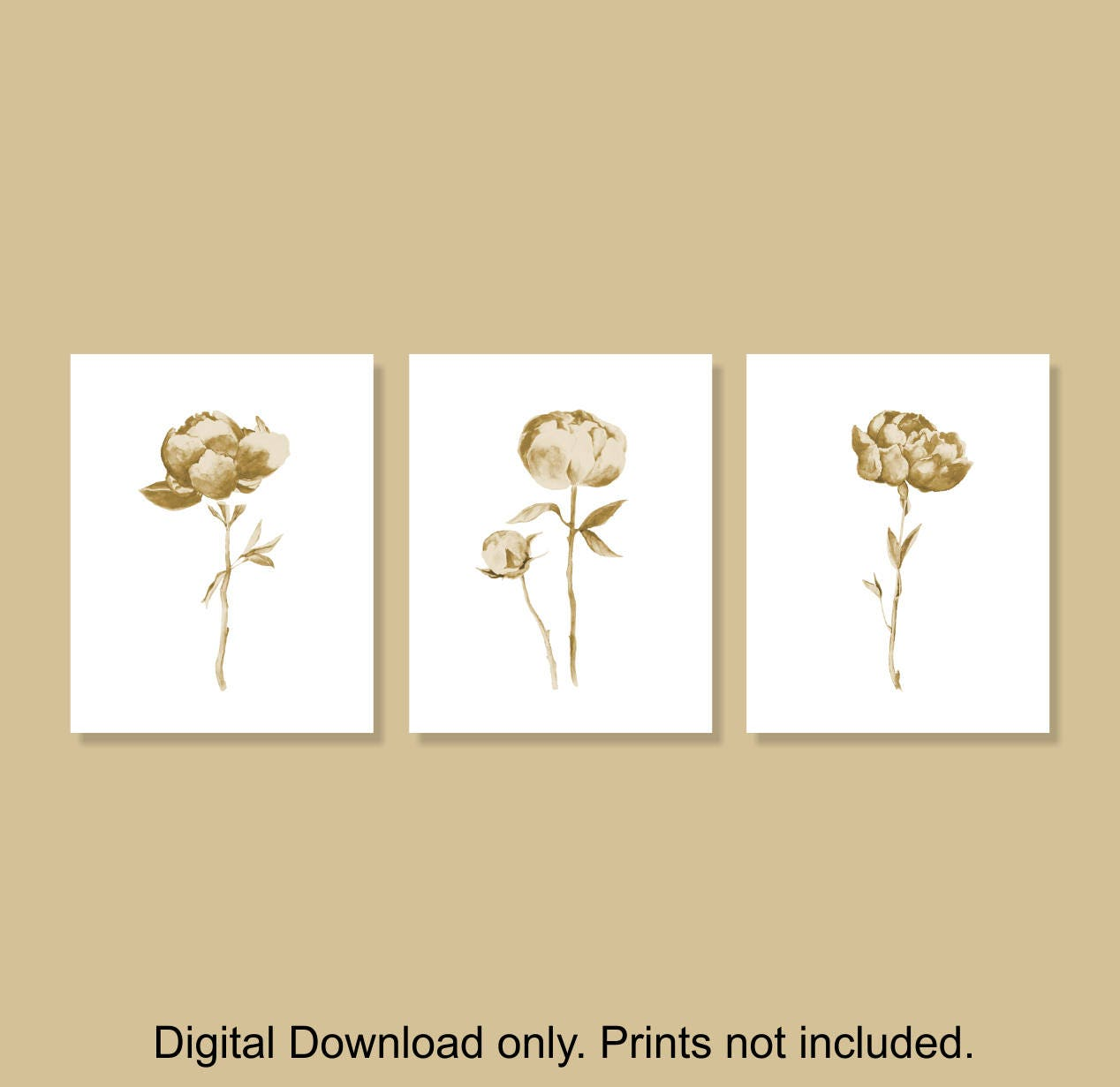 INSTANT DOWNLOAD Beige Watercolor Flower wall art set of 3