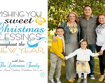 Christmas Card - Turquoise & Yellow