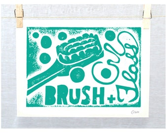 Kids Bathroom Art, Toothbrush, Bathroom Wall Art, Bathroom Decor, Kids, Toothbrush Bathroom Art, Brush and Floss, Cute Bathroom Wall Art,