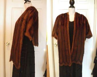 1950s Reddish Brown & Black Mink Fur Stole Capelet Wrap - Scalloped Hem