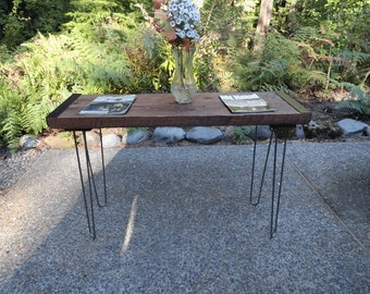 Authentic Industrial Sofa Table from old barnwood with hairpin legs