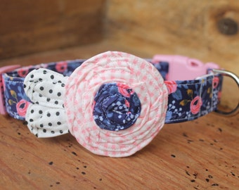 Flower Dog Collar - Navy Rifle Paper Co with Pink Gingham Flower and Cream/Black Dot Leaves