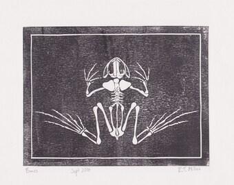 Frog Skeleton Lino Print -A4