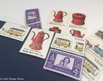 Tea Party | Vintage Unused Postage Stamps | For 5 Letters | 59 Cents