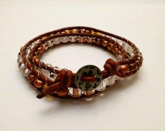 Dark Brown Leather wrap bracelet with  Earth Tone Czech glass Beads.