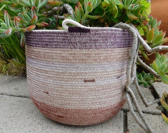Large Cotton Rope Basket with Handles || Rope Vessel || Rope Pot ||