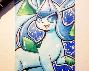 Glaceon Hand Drawn Pokemon Sketch Card / ACEO