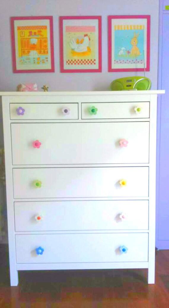 Kids Dresser Knobs Kids Drawer Pulls Flower Wardrobe Knobs Girl Dresser Drawer Handles Childrens Drawer Knobs Flower Nursery Decor Red