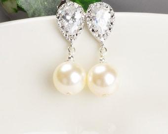 Elfenbein Perle Ohrringe - Zirkonia - Swarovski Perle Ohrringe Silber - Perle Braut Ohrringe - Brautjungfer Schmuck