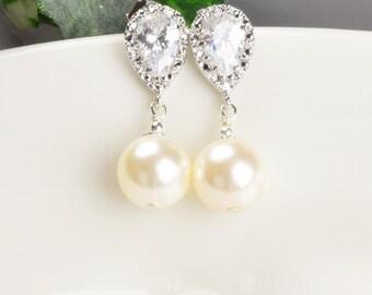 Ivory Pearl Earrings - Cubic Zirconia Earrings - Swarovski Pearl Drop Earrings Silver - Pearl Bridal Earrings - Bridesmaid Jewelry