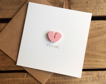 It's A Girl Card with detachable baby feet magnet keepsake