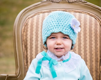 CLEARANCE Flower Hat Aqua Blue Hat Baby Hat Baby Girl Hat Toddler Hat Toddler Girl Hat Womens Hat Aqua Hat Baby Beanie Toddler Beanie
