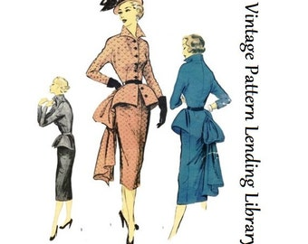 1950s Ladies Jacket Dress With Wiggle Skirt - Reproduction Sewing Pattern #F0073
