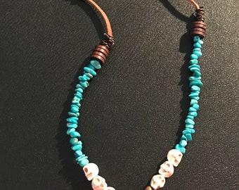 Turquoise and leather skull necklace