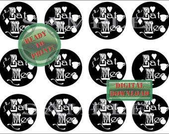 Alice in Wonderland Cupcake Toppers Printable Black Eat Me Party Decor Teacup Heart Diamond Pocket Watch Sheet of 12 Mad Hatter Tea Party