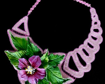 Cosmic romance - Handmade Leather necklace with a hibiscus flower