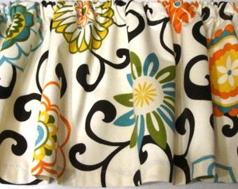 Valance Waverly Pom Pom Confetti Print Curtain Window Treatment Topper 53 W X 14 L