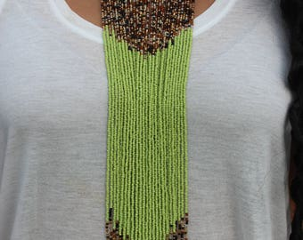 Green Arrow Beaded Necklace